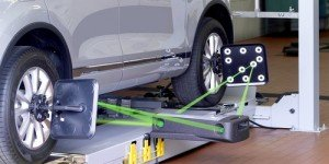 A vehicle receiving tyre safety checks in Wodonga